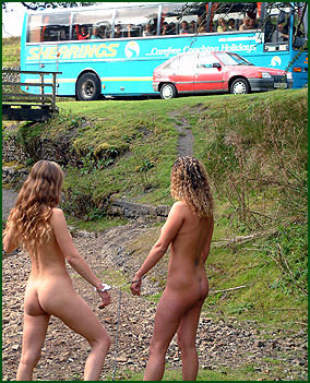chained naked in public